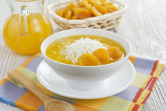 Rice soup with dried apricots Royalty Free Stock Photos