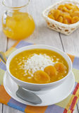 Rice soup with dried apricots stock images