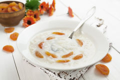 Rice soup with dried apricots Stock Photography