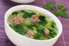 Rice soup with meat balls Stock Image