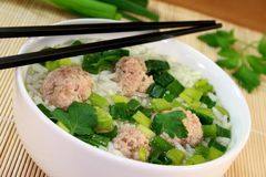 Rice soup with meat balls Stock Photos