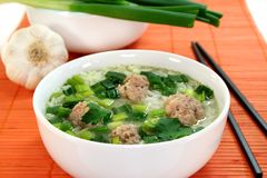 Rice soup with meat balls Royalty Free Stock Images