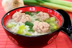 Rice soup with meat balls Royalty Free Stock Image
