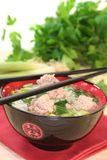 Rice soup with meat balls Stock Photo