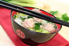Rice soup with meat balls Stock Photography