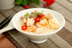 Rice soup with prawn and mince pork Royalty Free Stock Photography