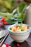 Rice soup with prawn and mince pork Stock Image