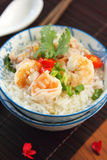 Rice soup with prawn and mince pork Stock Photo