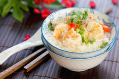Rice soup with prawn and mince pork Royalty Free Stock Images