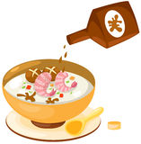 Rice soup with sauce royalty free illustration