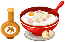 rice soup with sauce stock illustration
