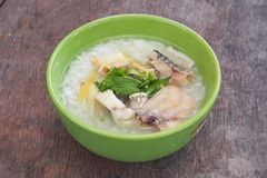 Rice Soup With sea bass fish Stock Photos