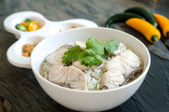 Rice Soup With sea fish Stock Photo