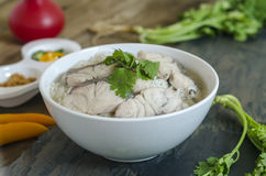 Rice Soup With sea  fish (Thai food) on wood Stock Photos