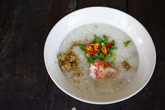 Rice soup with shrimp Stock Photo