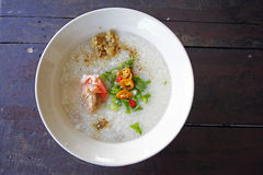 Rice soup with shrimp Stock Image
