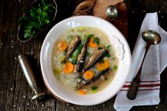 Rice soup with sprats, carrots with leek and parsley. Stock Photo