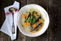 Rice soup with sprats, carrots with leek and parsley. Royalty Free Stock Image