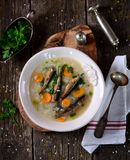 Rice soup with sprats, carrots with leek and parsley. Stock Photography