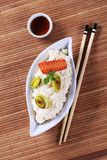 Rice and soy sauce Royalty Free Stock Image