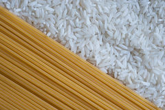 Rice and spaghetti background closeup Royalty Free Stock Photos