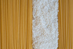 Rice and spaghetti backgrounds Stock Photos