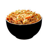 Rice spaghetti with chicken meat Stock Photo
