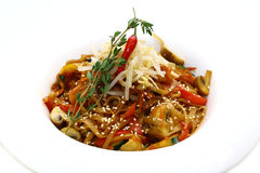 Rice spaghetti with vegetables Stock Photo