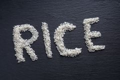 Rice spelled out Royalty Free Stock Photo