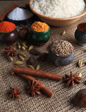 Rice and spices. Burlap background Royalty Free Stock Images