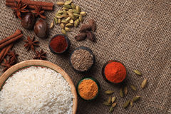 Rice and spices. Burlap background Royalty Free Stock Image