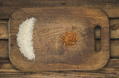 Rice and spices. Ingredients for healthy  food. Stock Images