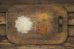 Rice and spices. Ingredients for healthy  food. Stock Photos