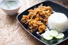 Rice with spicy fried chicken salad Royalty Free Stock Image