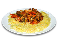 Rice with spicy meat Stock Images