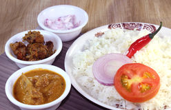 Rice with spicy Mutton Curry  Stock Photography