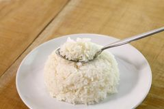 Rice in spoon Stock Photo
