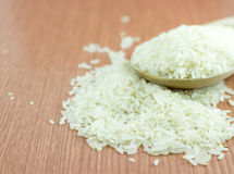 Rice on spoon Stock Image