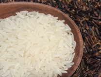 Rice. In the spoon on bamboo tray Stock Photos