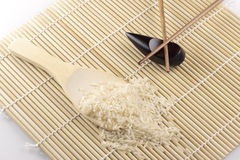 Rice, Spoon and Chopsticks Royalty Free Stock Photos