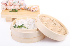 Rice and spring roll Stock Photos