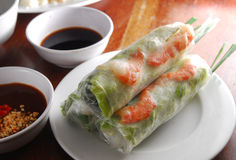 Rice spring roll. Vietnam rice shrimp spring roll with vermicelli royalty free stock photography