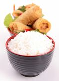 Rice and spring roll Stock Photo