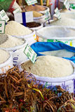 Rice stalls in a market Stock Photos