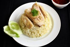 Rice steamed with chicken Royalty Free Stock Images