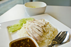 Rice steamed with chicken Stock Photography