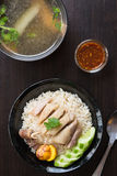 Rice steamed with chicken soup Royalty Free Stock Photos
