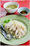 Rice steamed with chicken soup Royalty Free Stock Photo