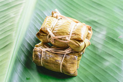 Rice steamed in green banana leaf Royalty Free Stock Photography