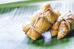 Rice steamed in green banana leaf Stock Image